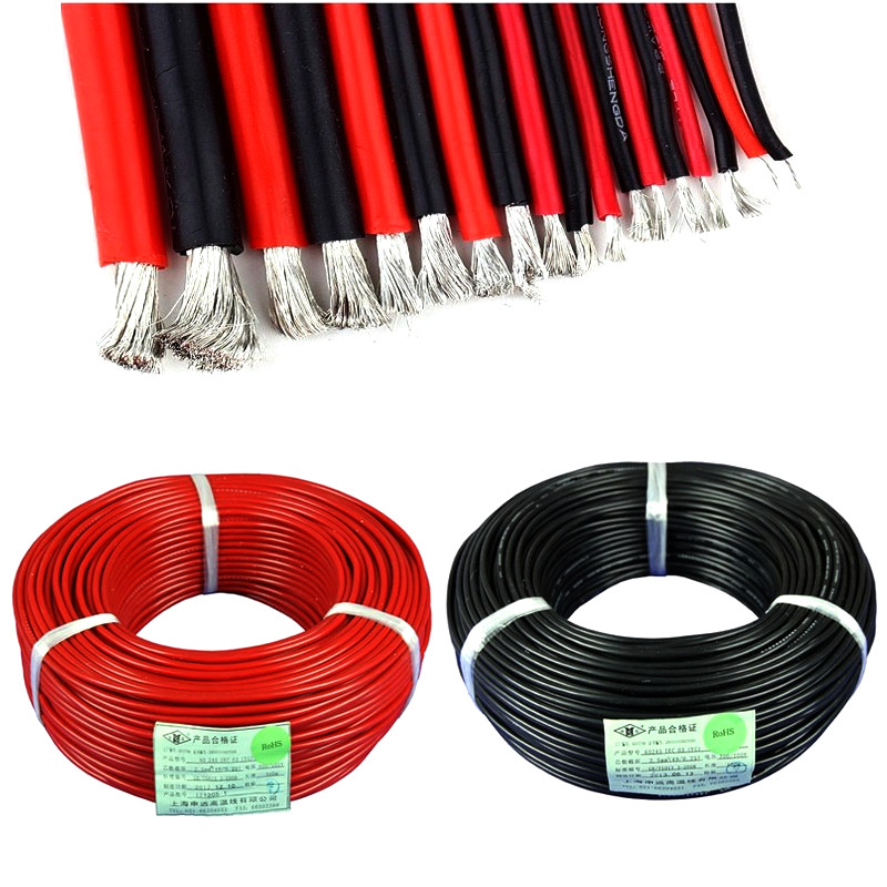 10meter Silicon Wire 12AWG 16AWG 10 12 14 16 18 20 22 24 26 AWG Heatproof Soft Silicone Wire SR Wire 5m Red 5m Black