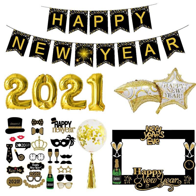 Новогодние фольгированные воздушные шары 2021, фоторамка, реквизит, воздушные шары, золотой, черный баннер, гирлянда, рождественские товары д...