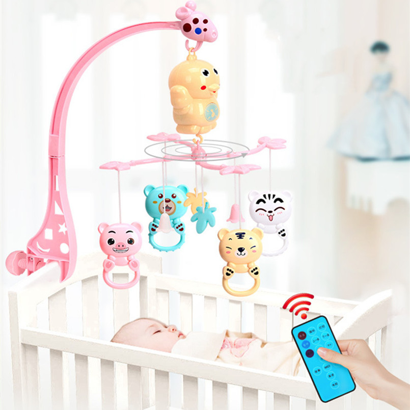 Baby Rattles Bracket Set Toddler Sensory Toy Crib Mobiles Holder Rotating Musical Box Bed Bell Newborn Infant Baby Boy Toys