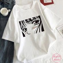 T-shirt femme blanc, estival et esthétique, Style coréen, graphique Harajuku, noir, dessin animé
