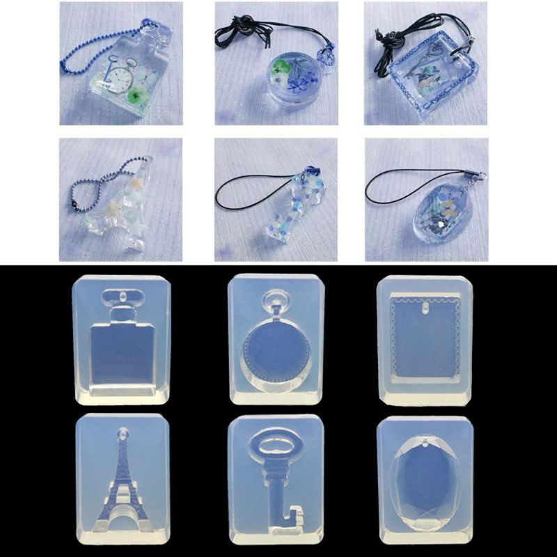 Tower Key Bottle Shape Pendant Silicone Mold Resin Jewelry DIY Making Tools 6 Styles