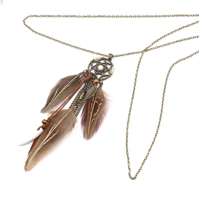 Collier Attrape Rêves Histoire Marron Bijoux femme bohème capteurs de rêves style chic boho amérindien fantaisie