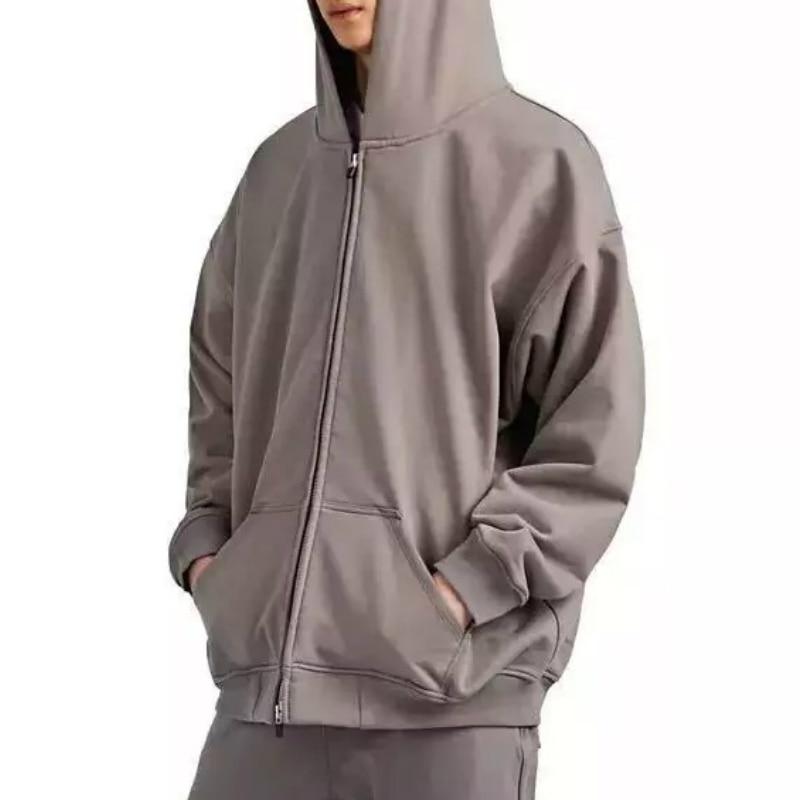 Kanye Full Zipper Raglan Hoodies Hip Hop Two-way Zip Grey Sweatshirt