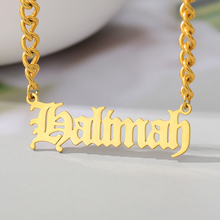 Personalized Name Necklace for Women Stainless Steel Old English Gold Chain Choker Necklaces & Pendant Maxi Colar Bff Jewelry