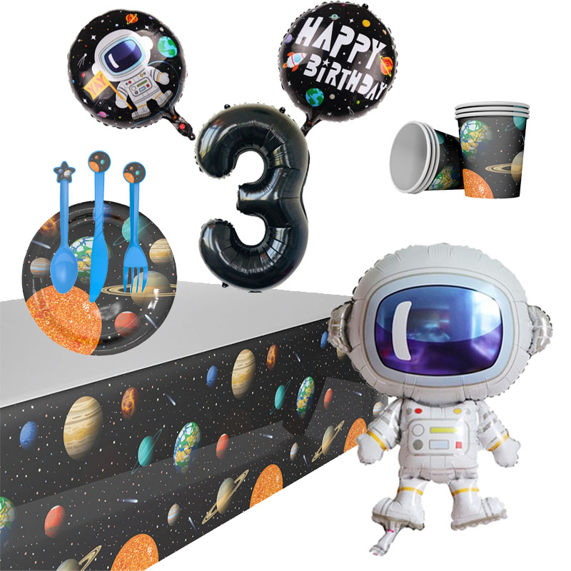 Outer Space Party Supplies Birthday Party Decorations Kids Disposable Tableware Kit Cups Plates Napkin Astronaut Foil Balloons