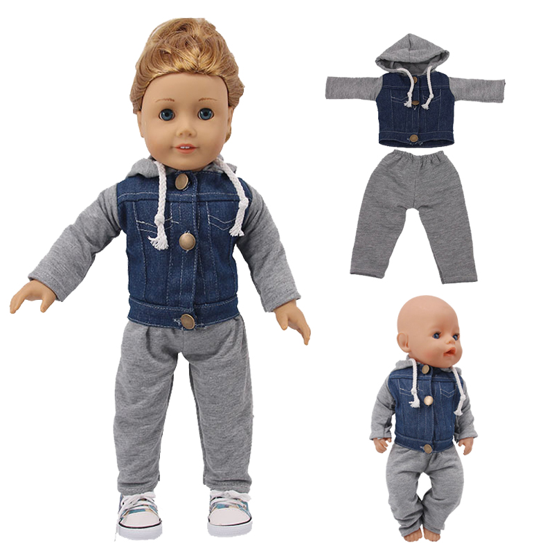 18 Inch 2PCS Denim Doll Clothes Cute High-quality Denim Hoodie Suit Fit Baby New Bron American And 43cm Rebron Doll Toy