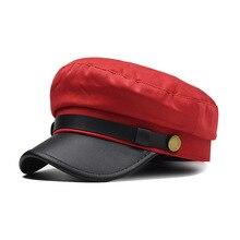 Женская кепка из искусственной кожи с пряжкой и плоским верхом, хлопковая шапка, восьмиугольная Женская кепка в стиле милитари, Модная элегантная женская шапка, Лидер продаж