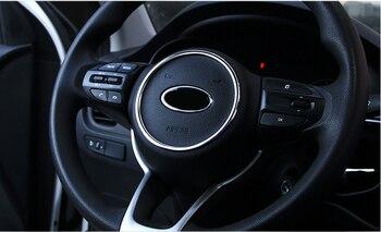 Lsrtw2017 Car Steering Wheel Logo Ring Trims for Kia Rio X Line Kx Cross K2 2017 2018 2019 2020 Interior Accessories lsrtw2017 stainless steel car co pilot storage box switch handle trims for kia kx cross k2 rio 2017 2018 2019 2020