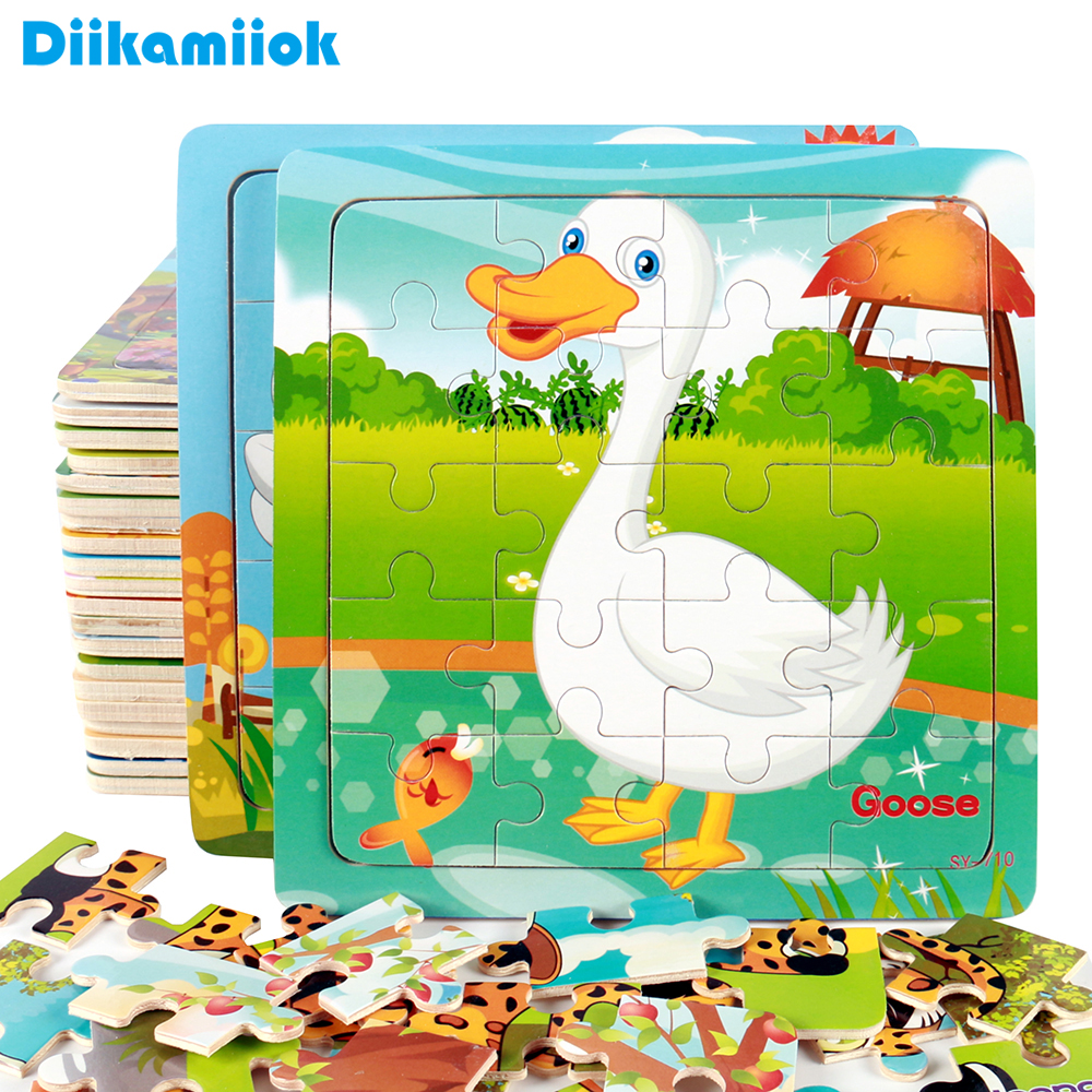Hot Sale 9/20 Slice Kids Puzzle Toy Animals and Vehicle Wooden Puzzles Jigsaw Baby Educational Learning Toys for Children Gift(China)