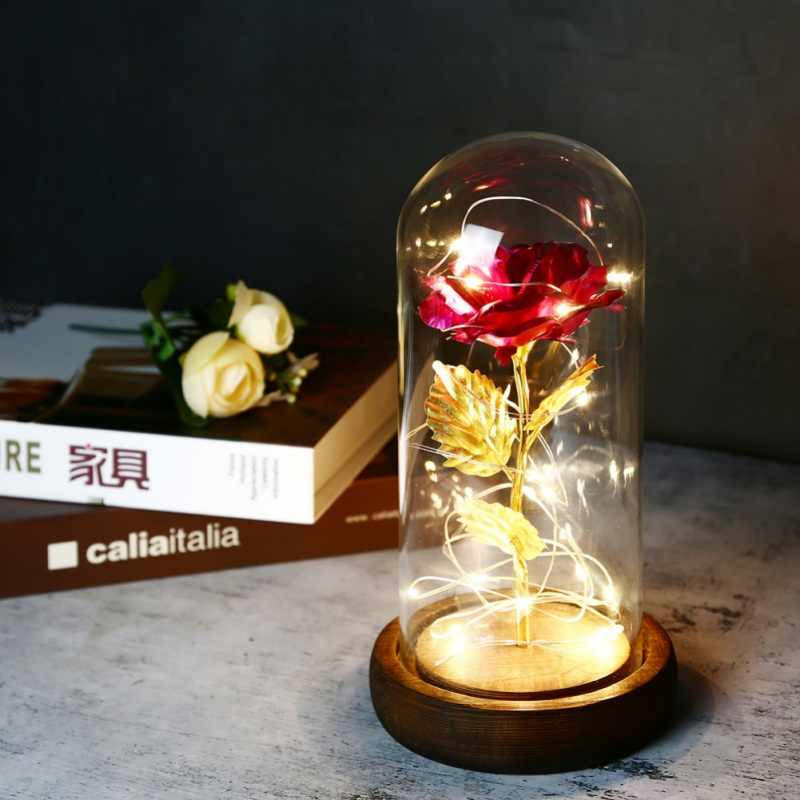 Glass Dome Light Flower Beauty And The Beast Enchanted Rose Glass Led Lighted Wedding Home Decor Gift Artificial Dried Flowers Aliexpress