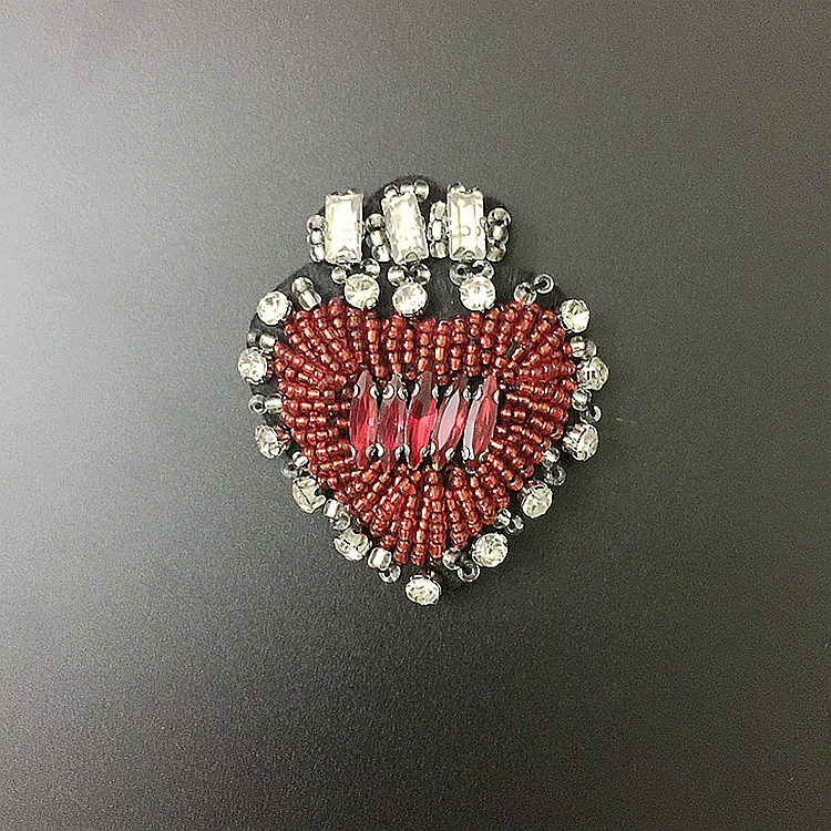 Red Silver Rhinestone Sew Iron On Patches Embroidery Badges For Clothes DIY Appliques Craft Decoration