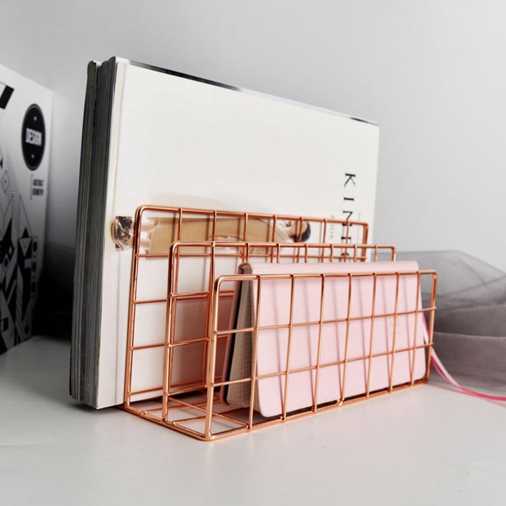 estilo nordico de ouro estante desktop do escritorio ouro rosa bloco livro metal tres camada desktop