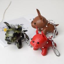 Мини милый мультфильм брелок с плюшевой игрушкой щенок бульдога искусственная кожа кукла висячая подвеска брелок рюкзак сумка украшение для брелока