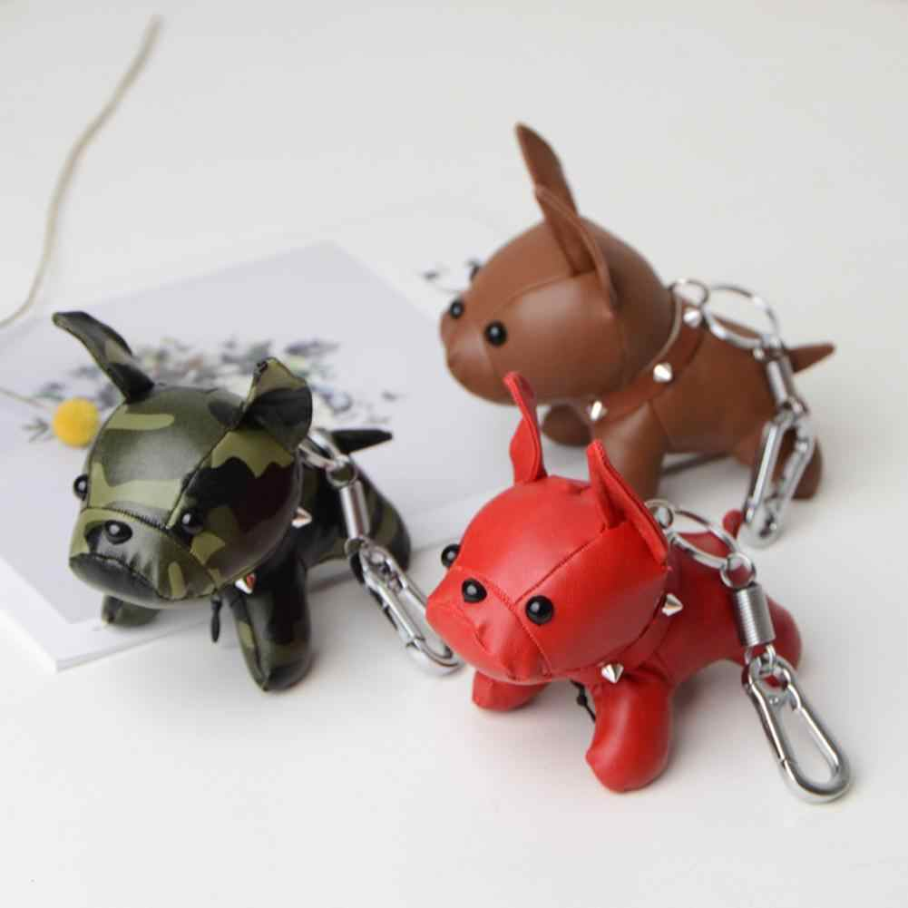 Mini Leuke Cartoon Dier Pluche Sleutelhanger Bulldog Puppy Faux Lederen Pop Opknoping Hanger Sleutelhanger Rugzak Tas Sleutelhanger Decor