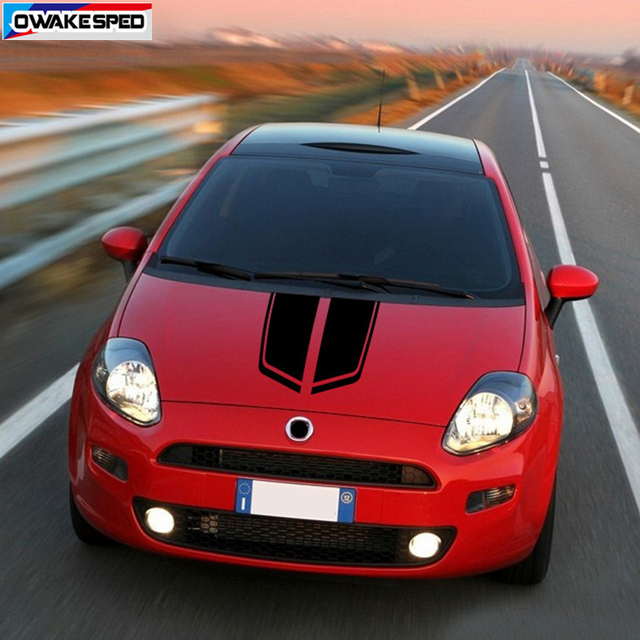 Car Hood Bonnet Stripes Auto Engine Cover Decor Vinyl Decals For-FIAT Punto ABARTH Racing Styling Stickers Exterior Accessories 2