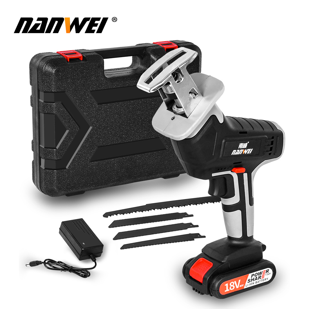 18V42vf NANWEICordless Electric Lithium Power tool Portable and rechargeable Hand Reciprocating Saw Saber Saw Multi-function saw - Цвет: 18V 1B set2