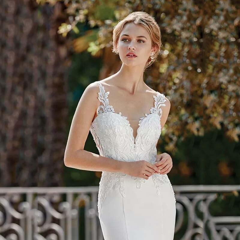 Eightree Princesa Do Vestido de Casamento Da Sereia Trumpet Querida Neck Cut Out Vestido de Noiva 2019 Apliques de Renda Robe de soirée - 4
