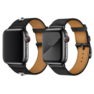 Image 5 - 40mm 44mm Black Strap For Apple Watch Series 5 Watchband Genuine Leather Bracelet Single Double Tour Bands For iWatch Series 3 2