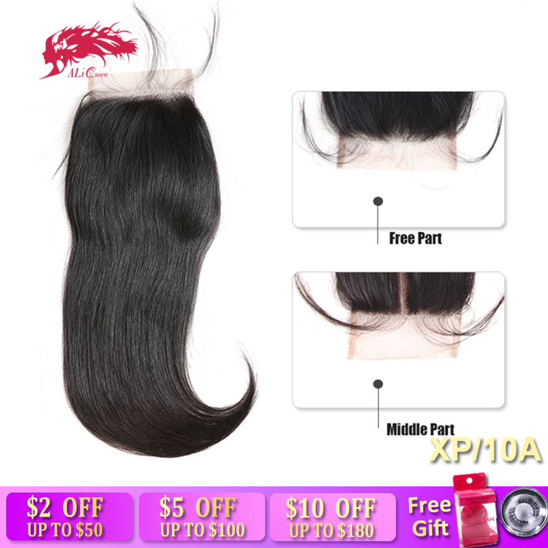 Ali Queen Hair HD Transparent 4x4 Lace Closure Brazilian Straight Remy Human Hair Natural Color 10
