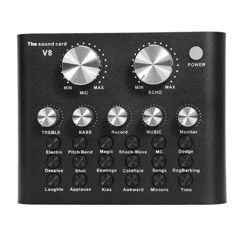 LEORY V8 Pro DSP USB Sound Card Audio External Headset Microphone Live Broadcast Sound Card For Computer Audio Interface
