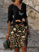 Vestido de mulher moda vestido solto tamanho grande vestido casual com decote em v