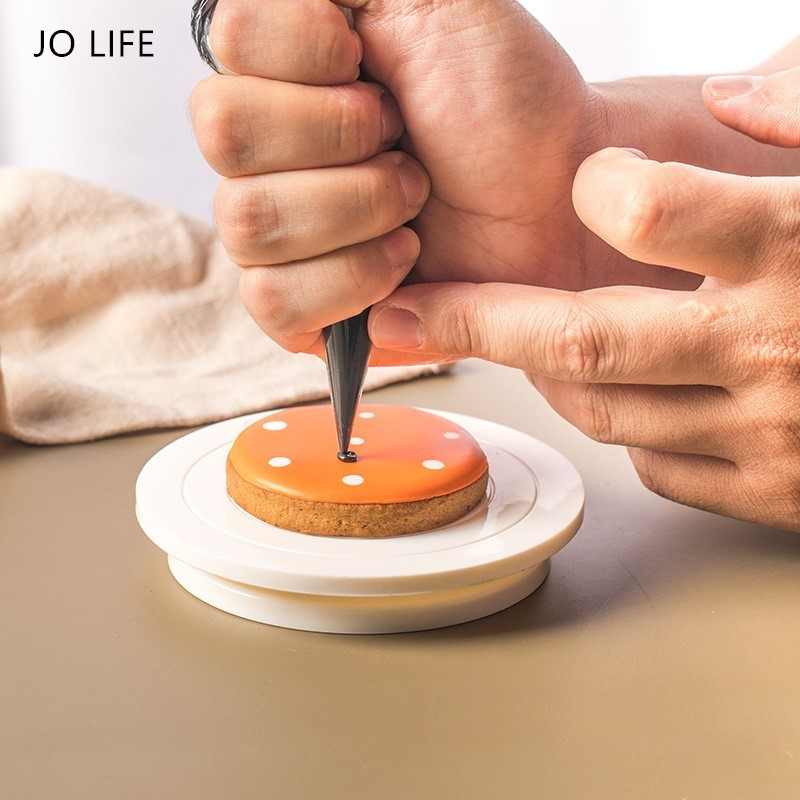 JO LIFE DIY Cookie Turntable Baking Plate Rotating Round Cake Decorating Tools Rotary Table Pastry Supplies Mini Cookie Stand