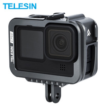 TELESIN Aluminium Alloy Frame Case For GoPro 9 Double Clod Shoe With Charging Port For GoPro Hero 9 Black Camera Accessories