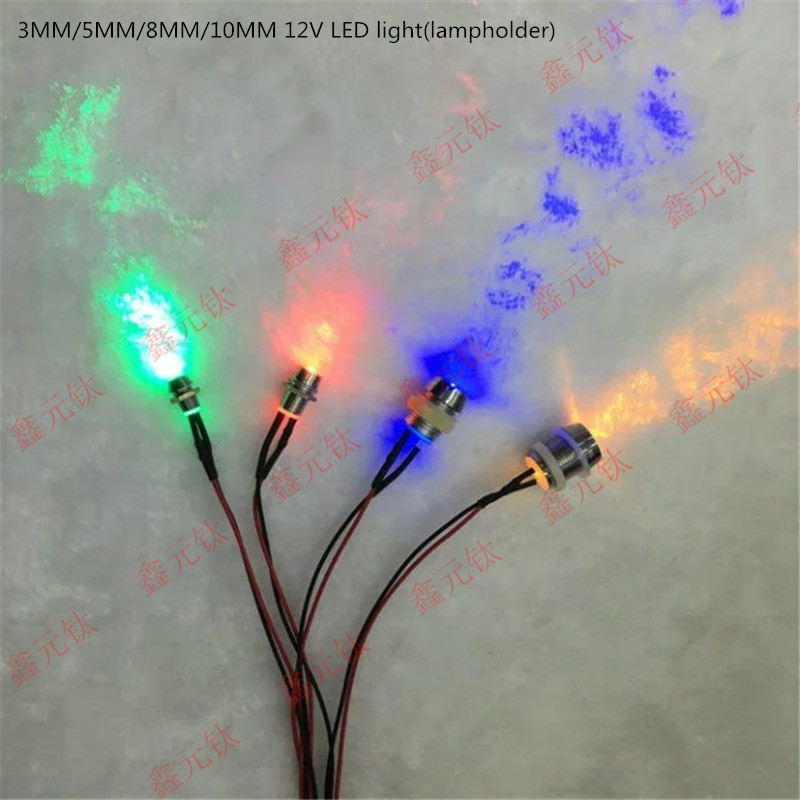 3MM 12V LED Light Beads  Lampholder Red Yellow Blue Green White Warm White Pink Orange Purple Transparent Concentrated 50pcs/lot