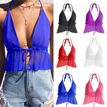 Ladies Tie Up Back Halter Neck Plain Sleeveless Bralet Camis Top Summer Vest Crop Tank Tops купить недорого в Москве
