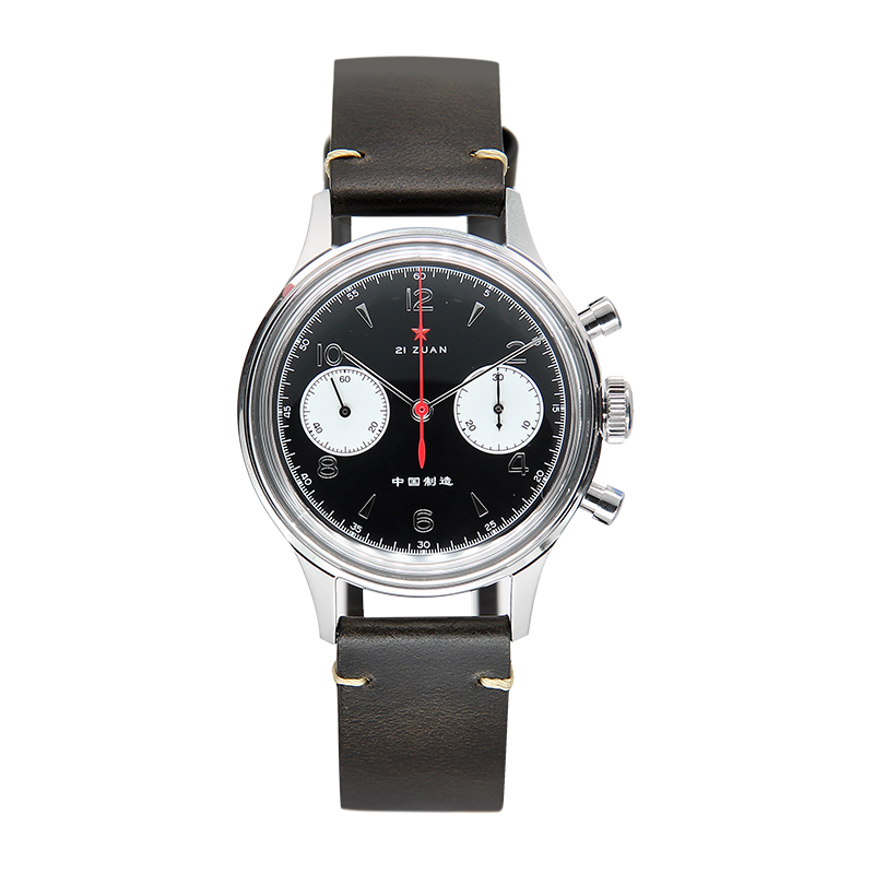 Genuine Redstar 1963 Designer Series chronograph pilot watch movement Men's Watch leather sapphire strap Colourful Dazzle 6807g
