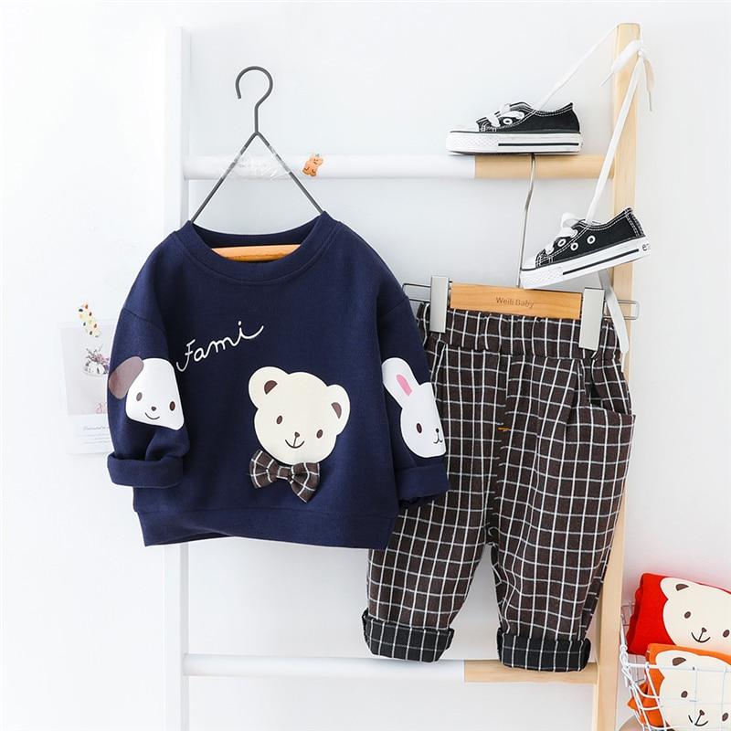 HYLKIDHUOSE Baby Clothing Sets 2020 Spring Girls Boys Clothing Sets Cute Cartoon T Shirt Pants Toddler Infant Vacation Costume