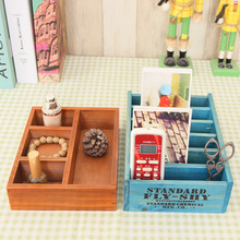 Desktop Wooden Cosmetic Storage Box Various Specifications Potted Grid Rectangular Debris and Finishing