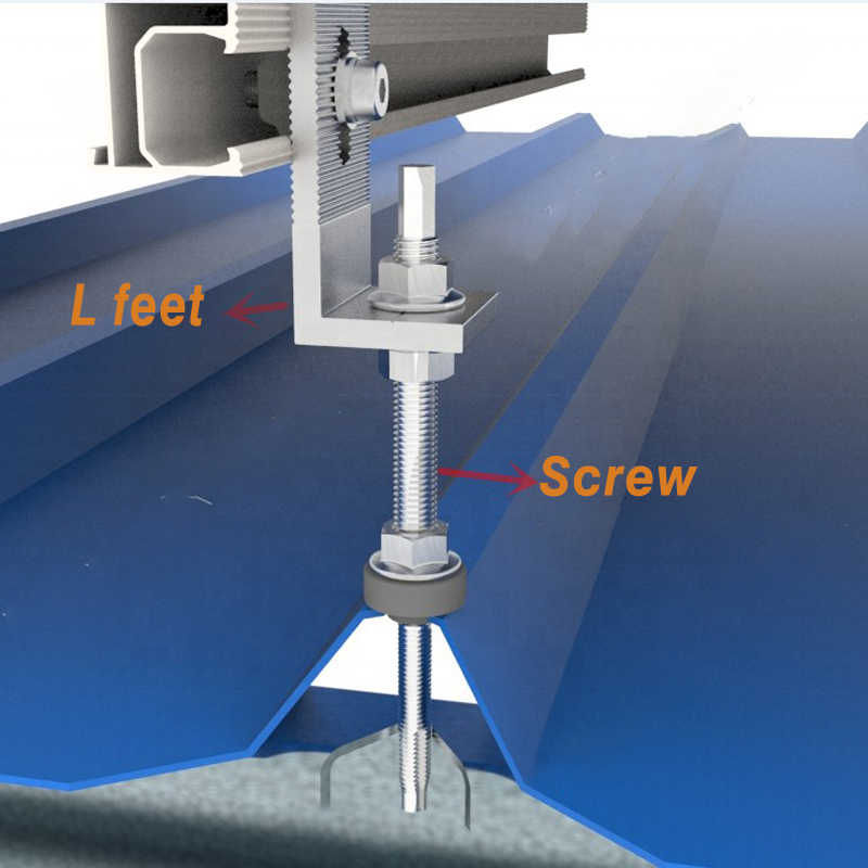שמש הרכבה סוגר ערכת הולם קבוע על פלדת גג שמש פנל אלומיניום L רגליים מהדק עם ברגים על רשת מערכת שמש