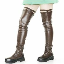 Elastic Slim Leg Riding Boots Women Stretch Buckle Over The Knee Punk Long Sneakers Platform Oxfords Shoes Goth Creepers