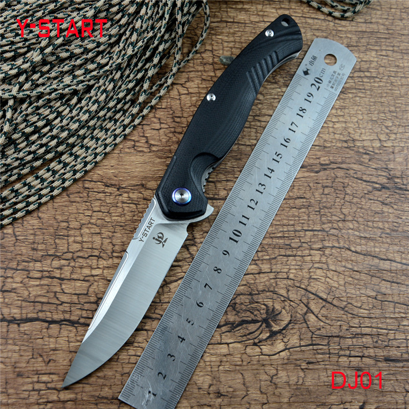 Y-START DJ01 Flipper Folding Knife Ball Bearing Washer 440C Satin Blade G10 Handle Survival Hunting Pocket EDC Tools