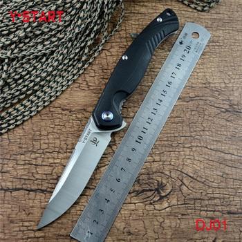цена на Y-START DJ01 flipper folding knife with ball bearing washer 440C satin blade G10 handle outdoor camping hunting pocket knife EDC