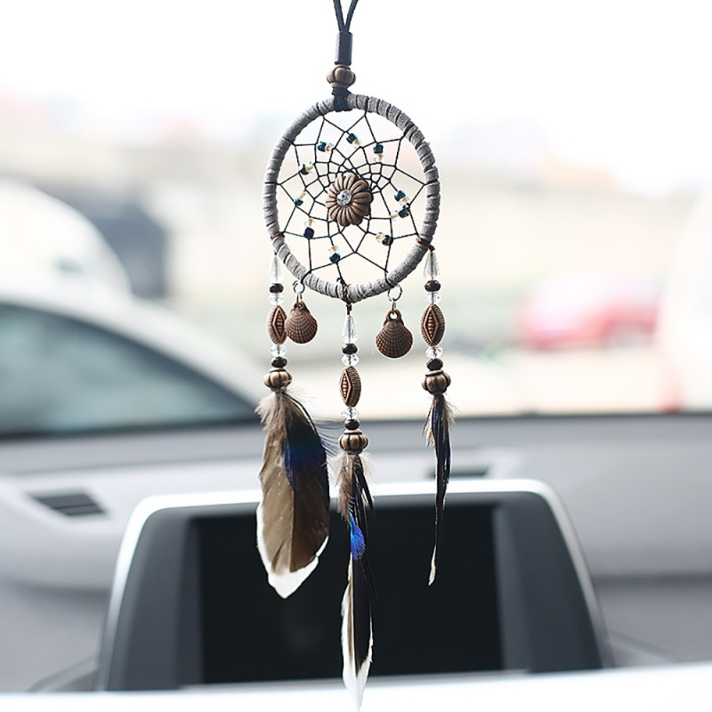 Mini Home Decoration Retro Feather Dream net Catcher Feathers Wall Hanging Dream Net Weaving Decor Gifts for Car Room Decor