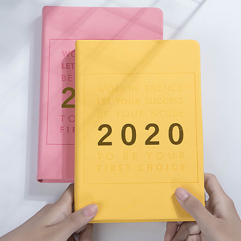 A5 Gilding pinkycolor <font><b>2020</b></font> Calendar Efficiency Manual <font><b>Planner</b></font> Agenda Notebook Soft PU Daily Weekly Diary Journal Notepad Gift image