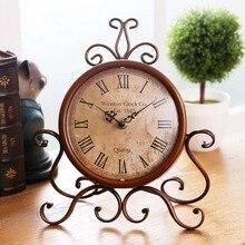 Retro reloj de metal de escritorio silencioso Nixie reloj hogar Decoración mudo Oficina dormitorio reloj de mesa movimiento arte estilo Vintage Shabby Chic