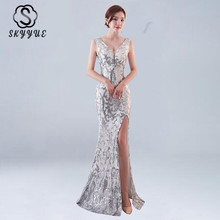 Skyyue Evening Dress Sexy Split V-neck Robe De Soiree Backless Sequin Women Party Dresses 2019 Sleeveless Gowns C181