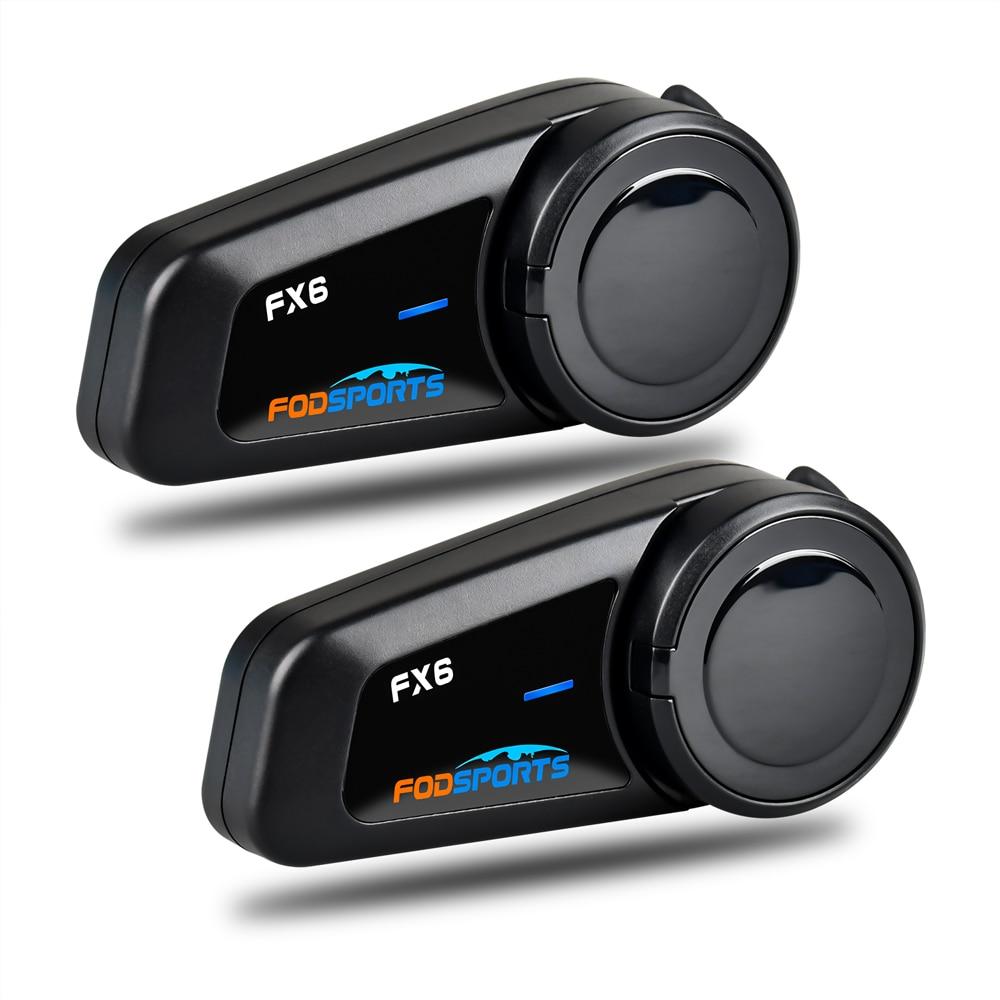 Fodsports 2 stücke FX6 Helm Intercom Motorrad Bluetooth Helm Headset 6 Fahrer 1000m Moto Sprech Intercomunicador FM