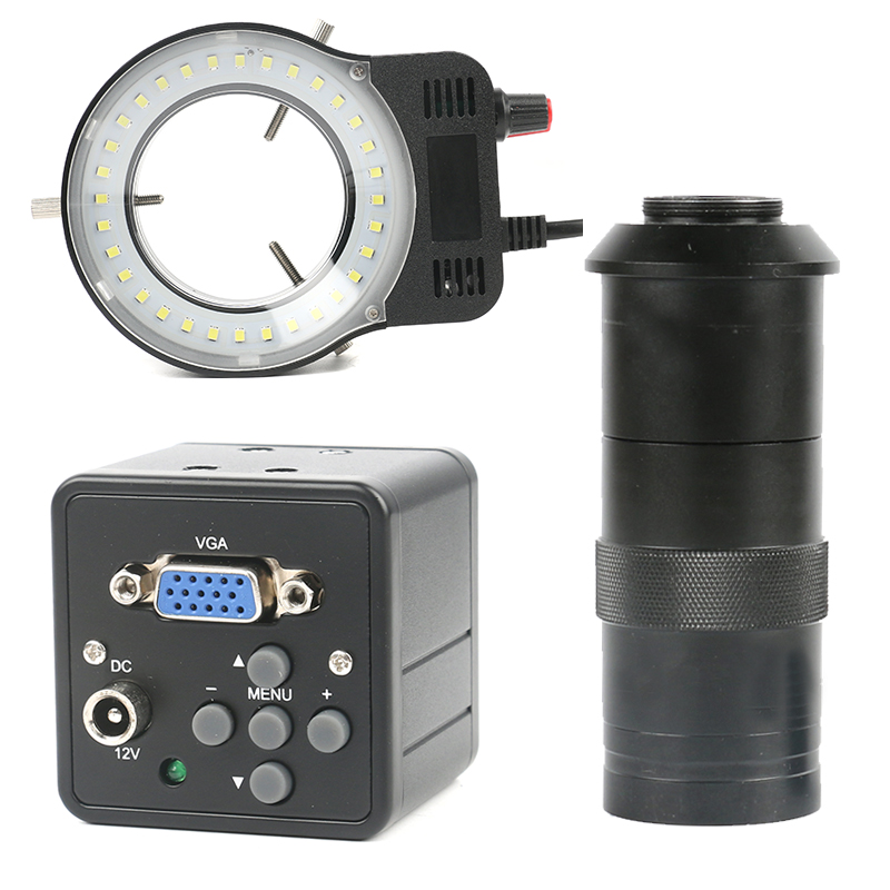 2.0MP 1080P HD VGA Digital Electronic Industrial Video Microscope Camera + 100X C-mount Lens + 48 LED Lamp Ring PCB  Soldering