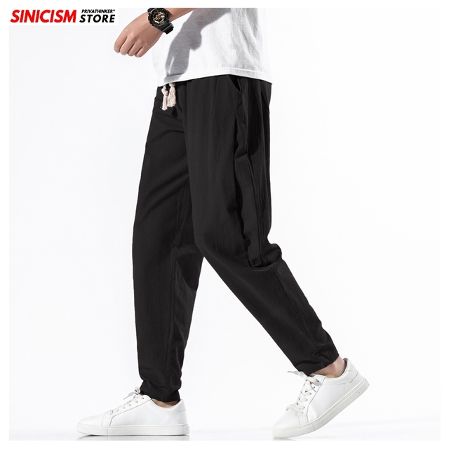 Sinicism Store Solid Spring Harem Pants Men Summer Fitness Jogger Pant 2020 Male Fashion Pants Chinese Style Trousers Bottoms 32