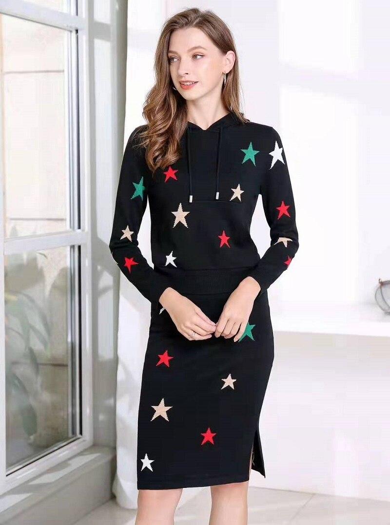 Sweats à capuche ensemble 2019 automne hiver pull décontracté costume femmes à capuche motifs étoiles sweat + mi mollet tricoté jupe ensemble violet noir - 2