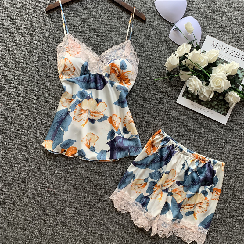 Lisacmvpnel Pajamas Woman Sexy Summer Imitate Real Silk Printing Camisole Shorts Suit Sleepwear
