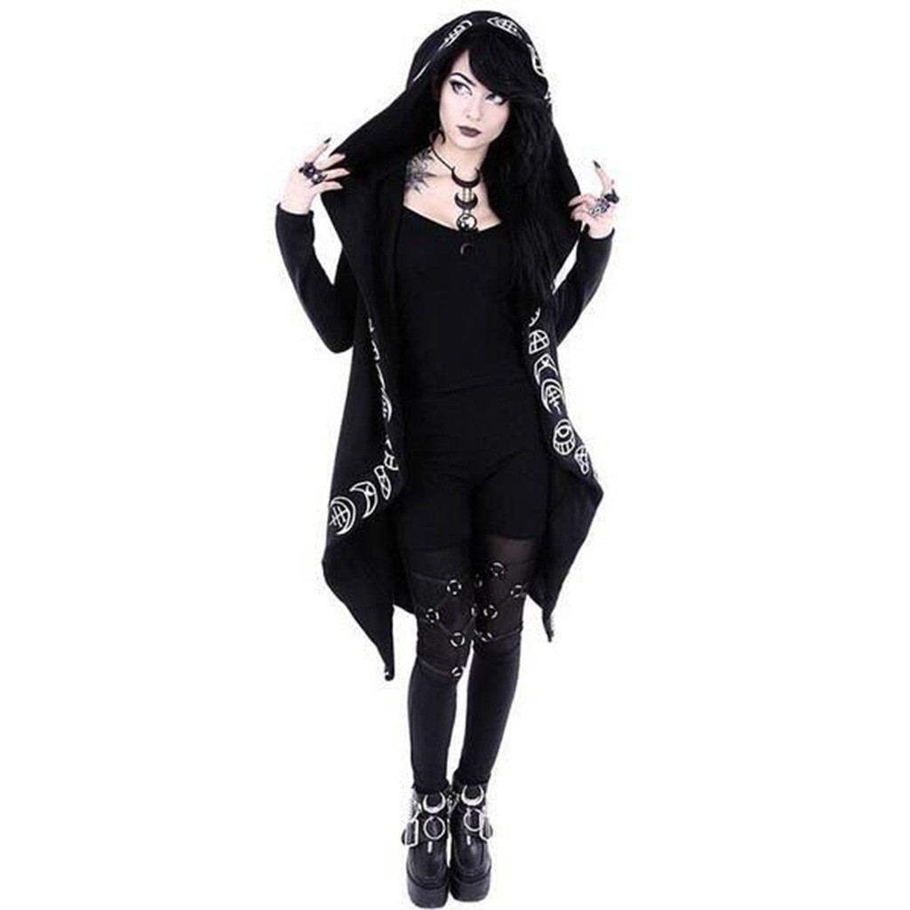 H9159114a93b94abf84a57c94ceaa78c8u Women Long Sleeve Punk Moon Print Hooded Black Cardigan Jacket Coat Plus Size S123