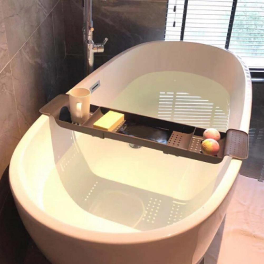 Retractable Bathroom Shelf Plastic Tub Bath Tray Stand Bath Storage Rack Bath Stand Floor Shelf Bath Floor Bathtub Organizer