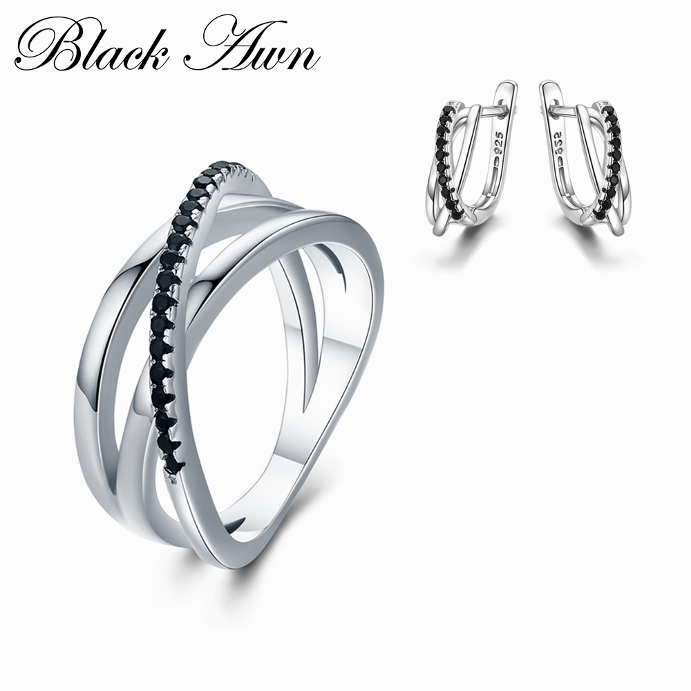 BLACK AWN 925 Sterling Silver Fine Jewelry Sets Trendy Engagement Wedding Ring+Earring for Women I023+G006