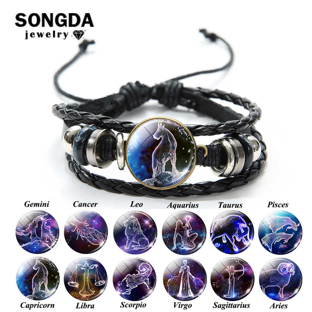 SONGDA New Galaxy Zodiac Sign Multilayer Leather Bracelet 12 Constellation Theme Picture Glass Dome Charm Bracelet Birthday Gift