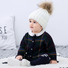 Baby Sweater Cardigan Knitwear Newborn Infant Spring Plaid Cotton Jacket Coat And Autumn